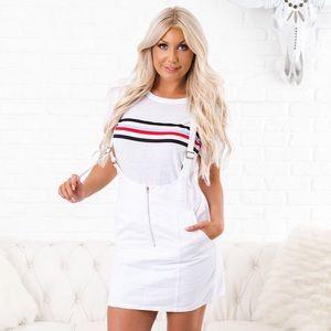 Dresses & Skirts - Nanamacs White Denim Overall Dress
